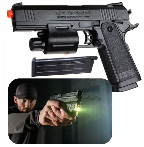OPS Tactical 45 cal Spring Airsoft Pistol BB Gun With Laser and Flashlight