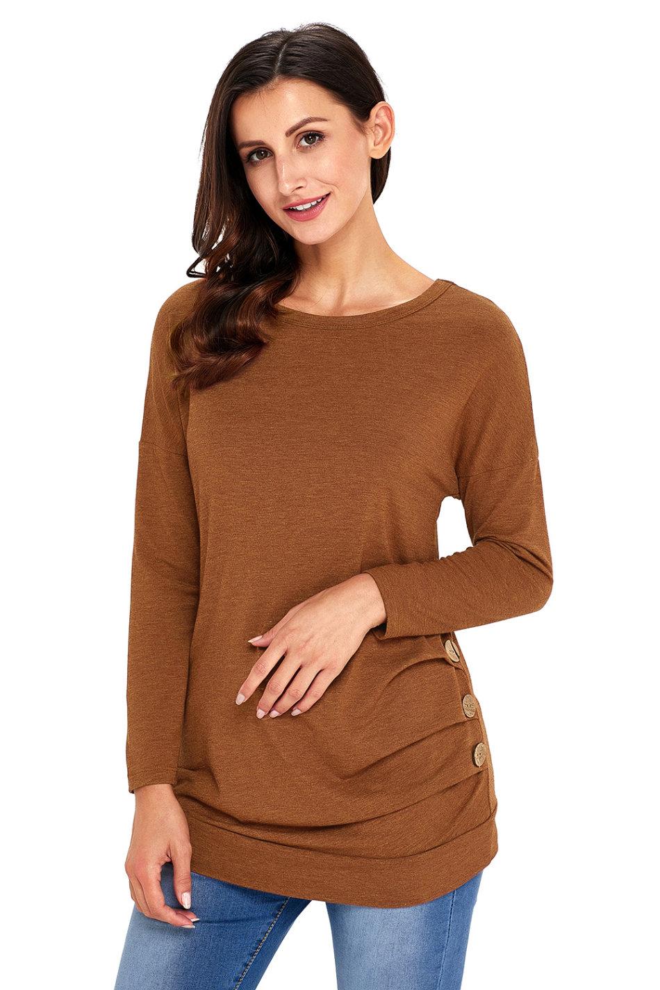 Elegant Womens Dark Brown Blouse - Collar Blouses