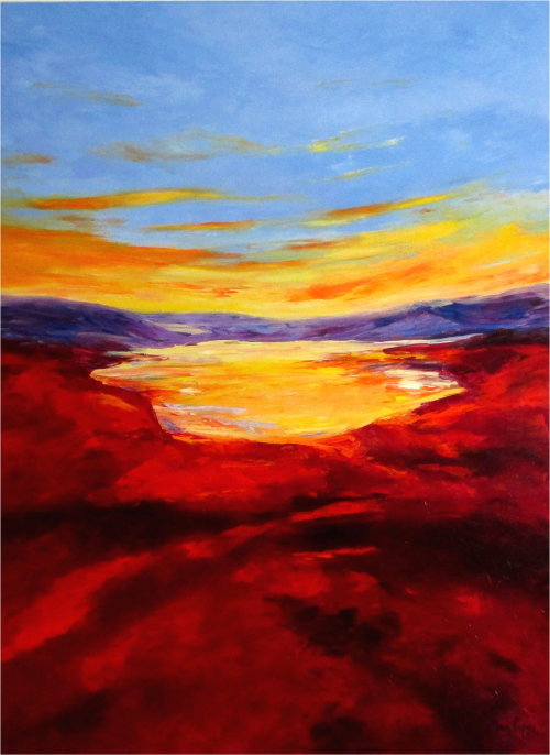 Golden Lake, oil painting by artist Mary Papas