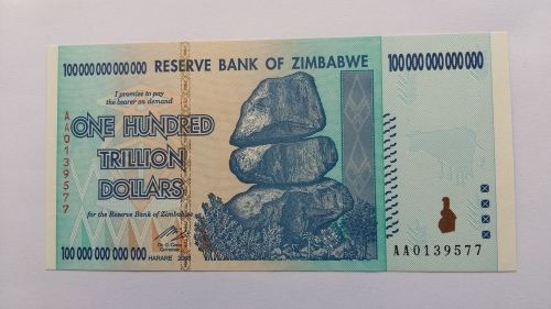 One Hundred Trillion Zimbabwe Dollars Uncirculated