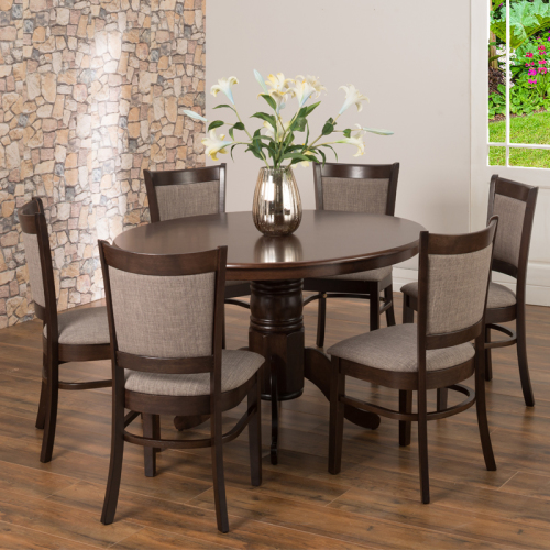 OLIVER 120CM DINING TABLE & 6X MANDY