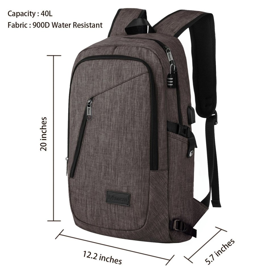 Backpacks - Business Laptop Backpack Mancro 15 15.6 Inch College Backpacks W/ USB Charging Port ...