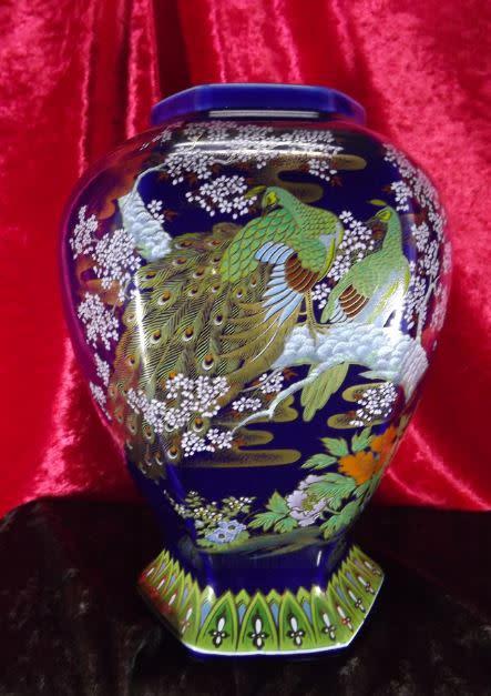 Oriental Porcelain Stunningly Beautiful Oriental Moriage Peacock