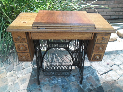 Industrial Steampunk Look Cast Iron Singer Treadle Sewing Machine Cabinet
