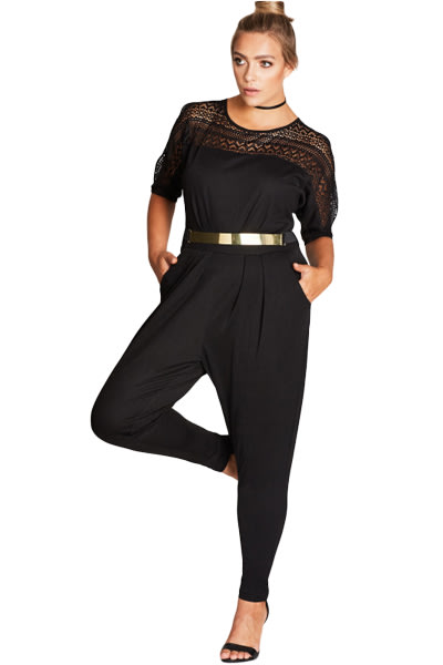 Playsuits Jumpsuits Elegant Black Lace Plus Size Party Jumpsuits