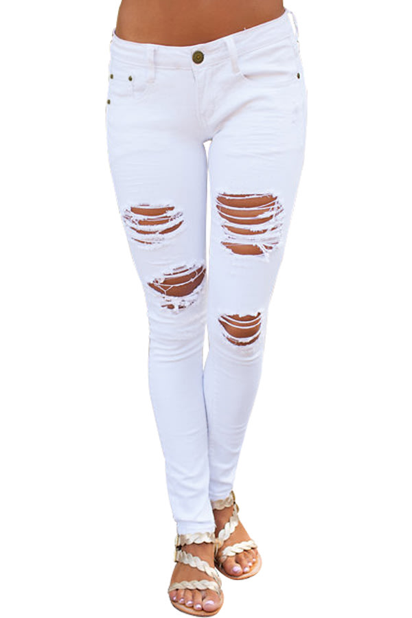 d4d3a0da35d0c Jeans - White ripped skinny denim jeans for women was listed for ...