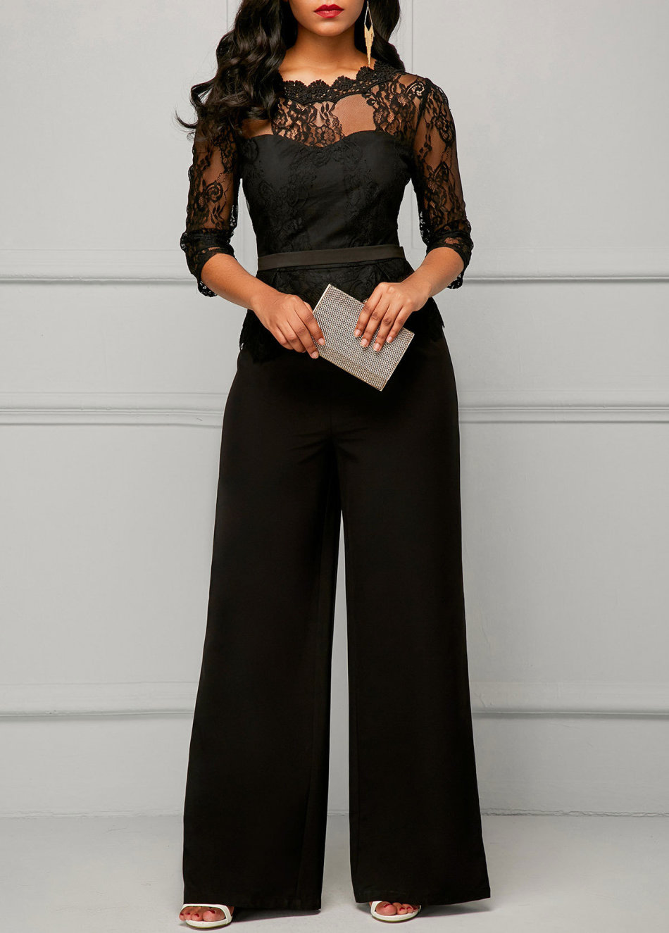 Playsuits Jumpsuits Black Lace Elegant Evening Jumpsuits Was