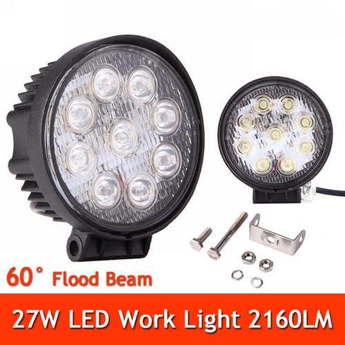 27w Led Work Light : Headlights w spot beam led work light bar round