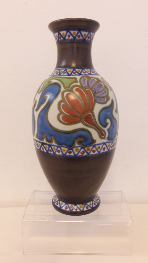 Dutch Porcelain Rare Dutch Art Deco Period Pzh Gouda Vase In