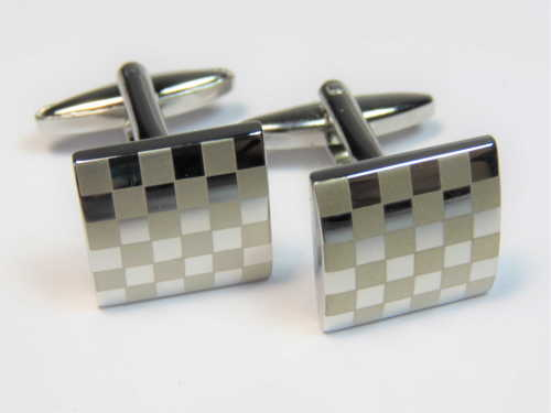 Pair of stainless steel checkered flag cufflinks