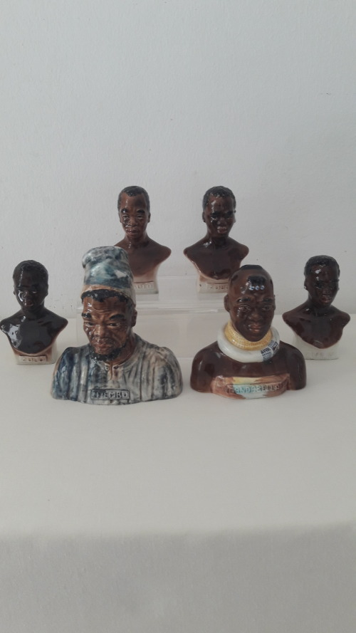 Lucia miniature ceramic portrait busts of indigenous Black people circa  late 1940s early 1950s
