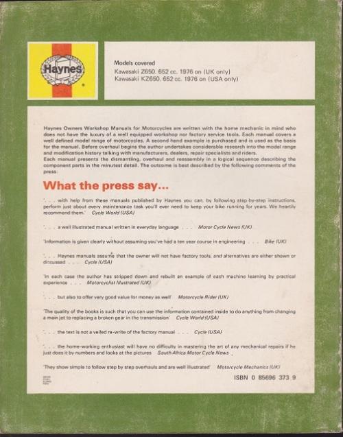 Cars - ISBN is 9780856963735 / 0856963739 Kawasaki KZ650, 1976-78