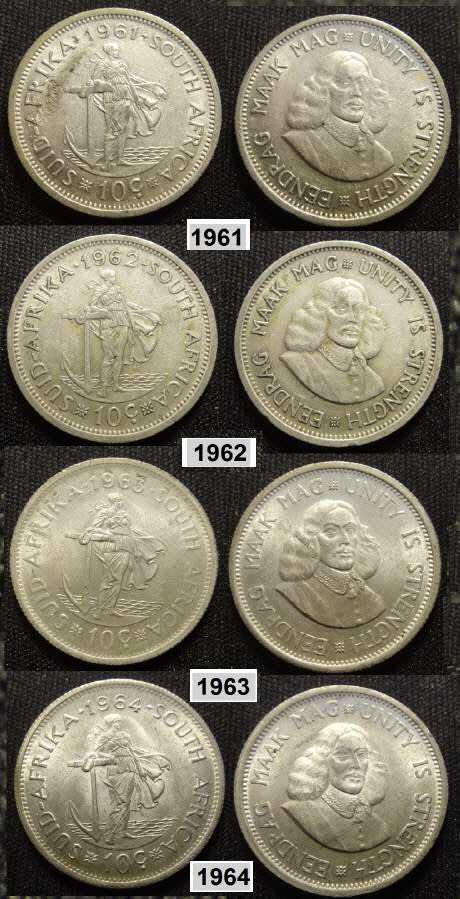 Ten Cent Republic Of South Africa Complete First Decimal Silver Ten Cent Set 1961 1964 Was