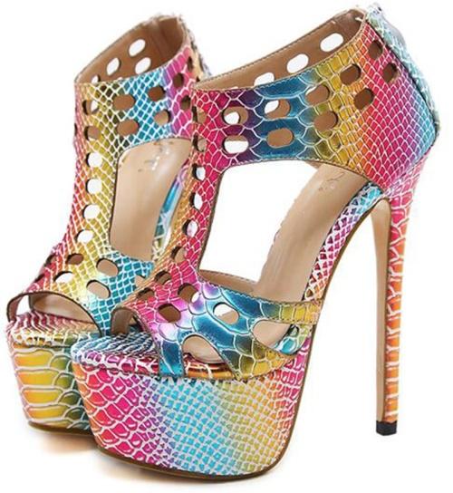 70a2d5c257a  WILD ROSE  Colourful Rainbow Cutout Women s Platform High Heels - SA Sizes  2-7