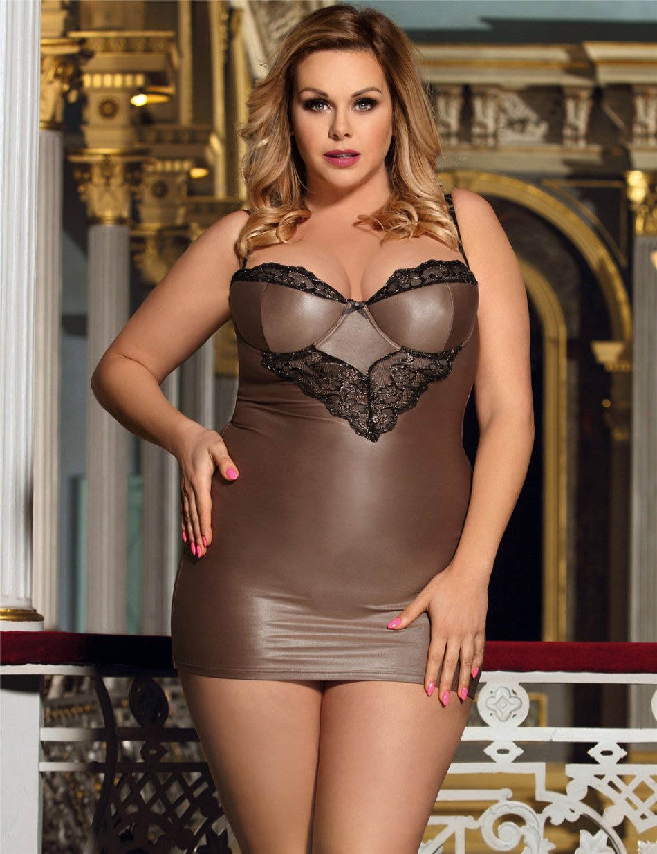 Leather Lingerie Sexy Black Lace Chemise For Plus Size