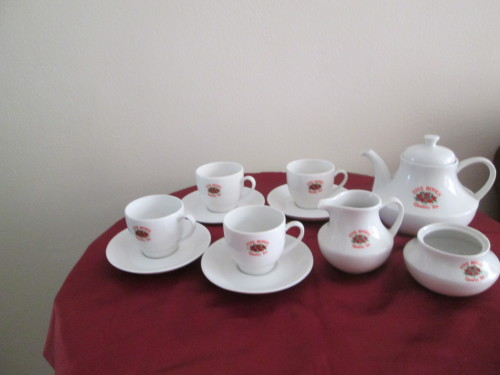 South African Porcelain Five Rose Teaset 4 Cups And Saucers