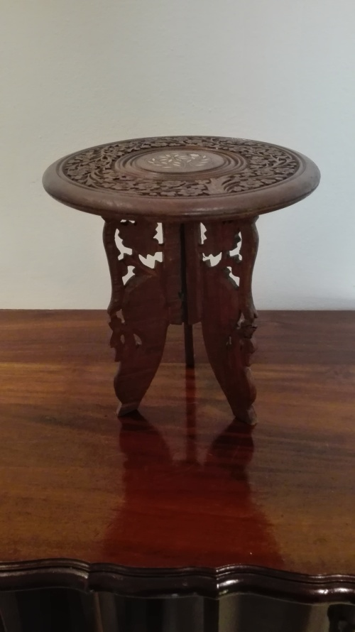 Hand Carved Indian Sheesham Wood Side Table