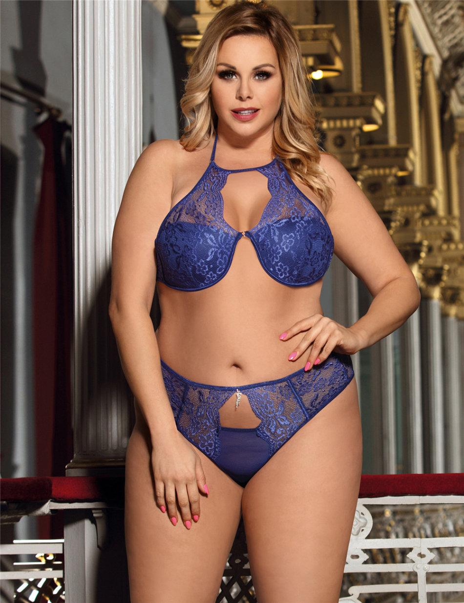 Baby Dolls  Teddies - Blue Bra Set Sexy Plus Size -9541