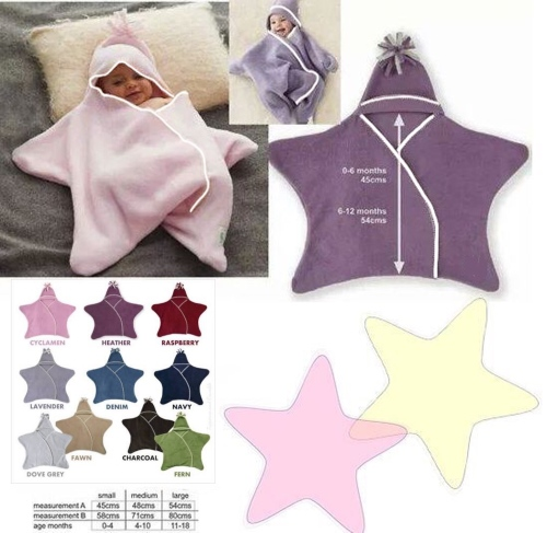 Swaddle Wrap Blankets Star Wrap Baby Fleece Blanket 2 Wrap Pack
