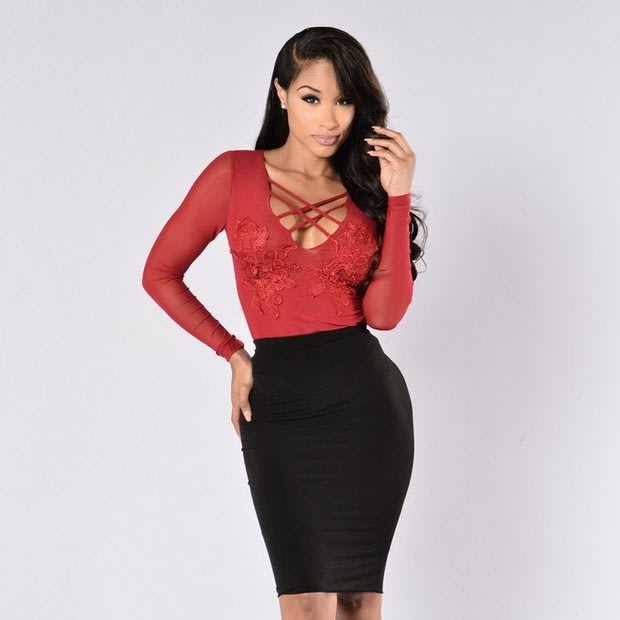161e98536c4 Ladies Red Applique Long Sleeve Sheer Bodysuits