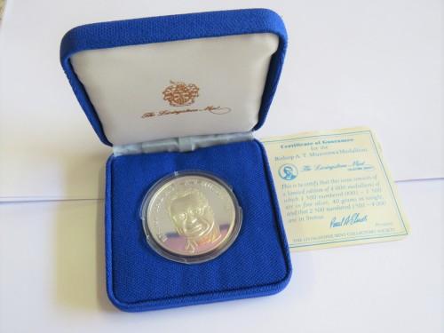 Bishop A.T. Muzorewa silver medallion - No. 50 of 1500 - 40 grams fine silver