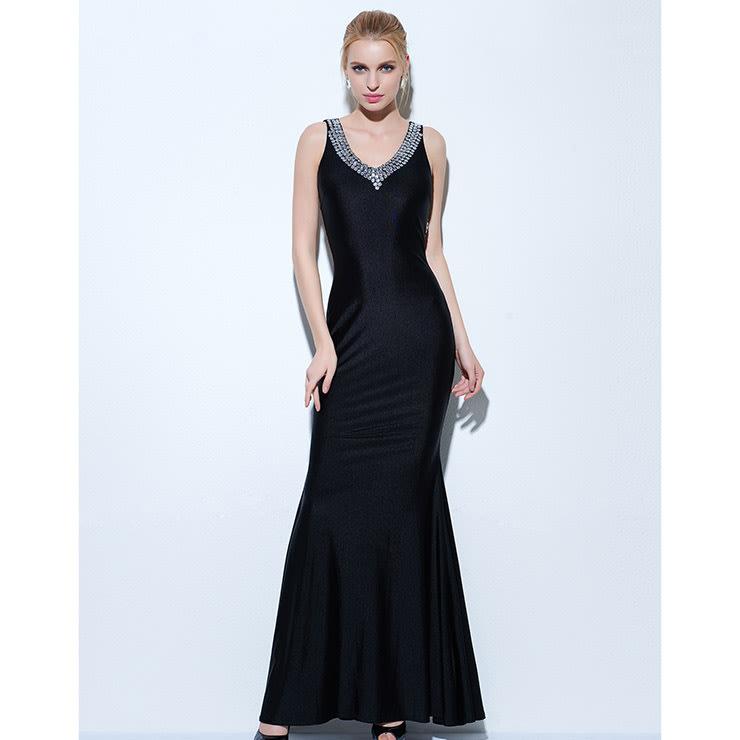 Formal Dresses - Evening dresses black beaded mermaid evening gowns ...