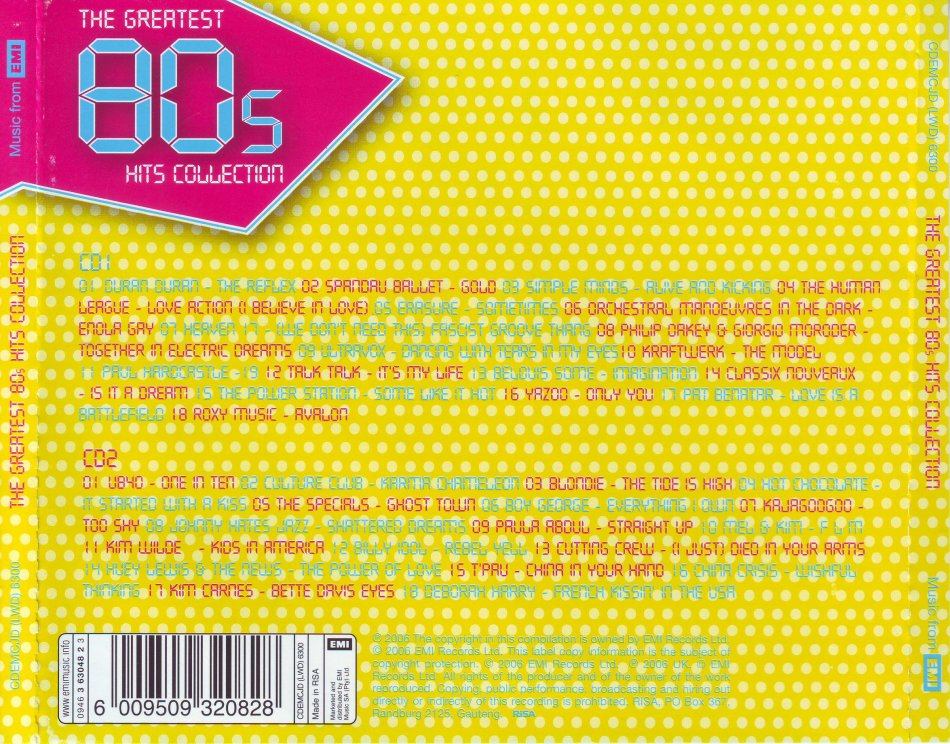Pop - THE GREATEST 80'S HITS COLLECTION - Compilation