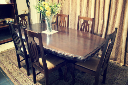 RS17 Absolutely Stunning Vintage Imbuia Ball Claw 6 Seater Dining Room Table 6x Chairs
