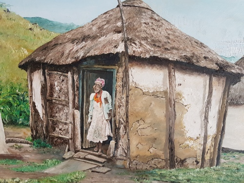 Paintings - Sandile Sibiya. Huge Original Oil of Zulu Huts. Framed. Signed. was listed for R2 ...