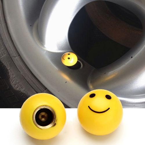"4pcs /""SMILE FACE/"" Ball Car Truck Bike Tire air Valve Stem Caps Wheel Rims YBLCA"