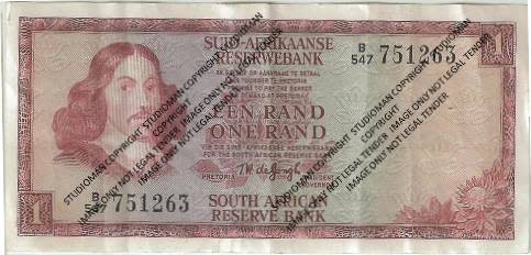 2 x South Africa 1 Rand Notes No: B/547 751263 & B/619 204228