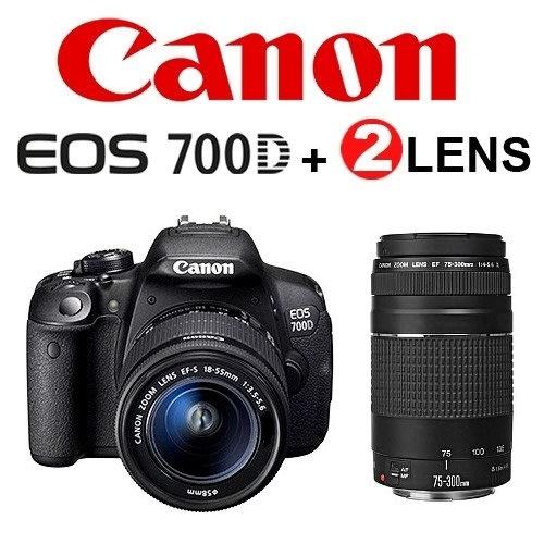 Canon EOS 700D DSLR TWIN Lens Kit | 18-55mm Lens + 75-300mm Lens | 18 0 MP  FULL HD