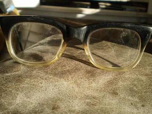 b29a6e80b49a Nerd Vintage Rustler 1960s Retro Black Transparent Horn Mens Eyeglasses Spectacles  Frame