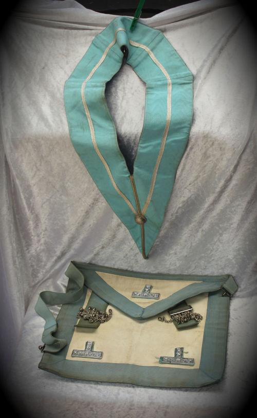 Vintage Masonic regalia Leather Masonic Apron and Collar