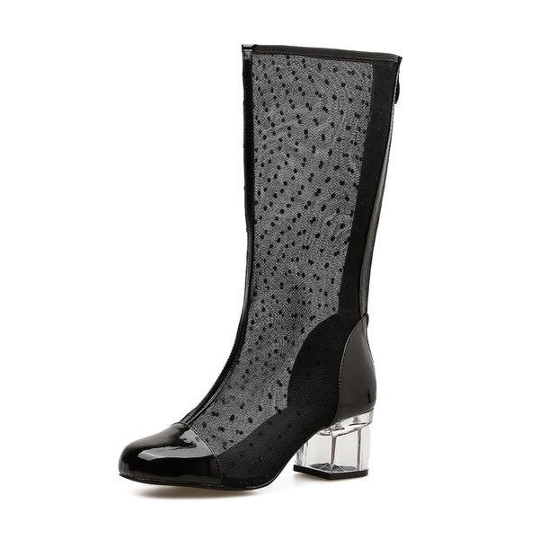 c5b4b8869946 Boots - Black Mesh Mid-Calf Chunky Heel Boots - SA Sizes 2-7 was ...