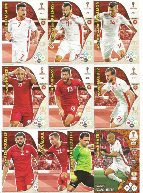 6ac731c4b61 TUNISIA - PANINI FIFA WORLD CUP 2018 RUSSIA - COMPLETE TEAM OF 10