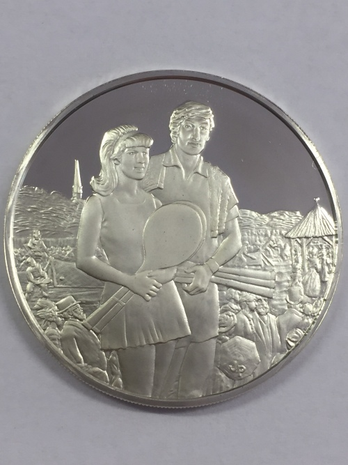 Sterling silver proof medallion honoring the Centenary of Wimbledon lawn tennis championships