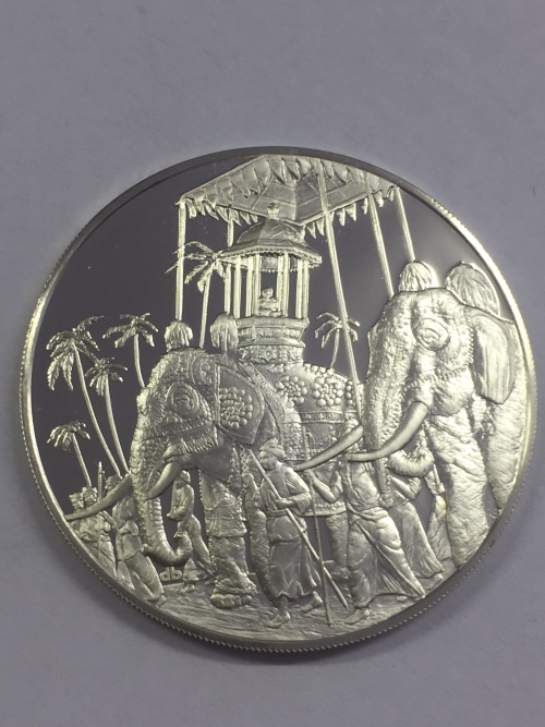 Sterling silver proof medallion honoring the Crafts and Historic traditions of Sri Lanka - 1977