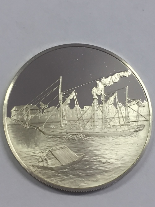 Sterling silver proof medallion honoring the first steamship to travel from Europe to South America