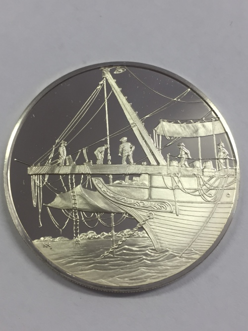 Sterling silver proof medallion honoring the Royal Society of London's expedition to Tuvalu 1977