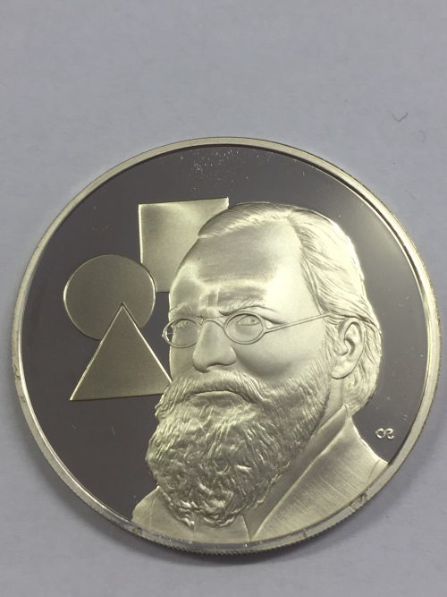 Sterling silver proof medallion honoring the 70th anniversary of Bezalel academy -1976