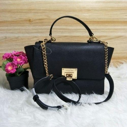 12410744cd0748 cheap original brand new michael kors tina md satchel bag black ba883 d42af
