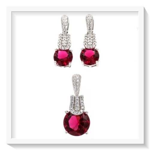 ff8e5677a986 SPECTACULAR 10 MM AAA RUBY RED   WHITE CUBIC ZIRCONIA .925 SOLID STERLING  SILVER SET