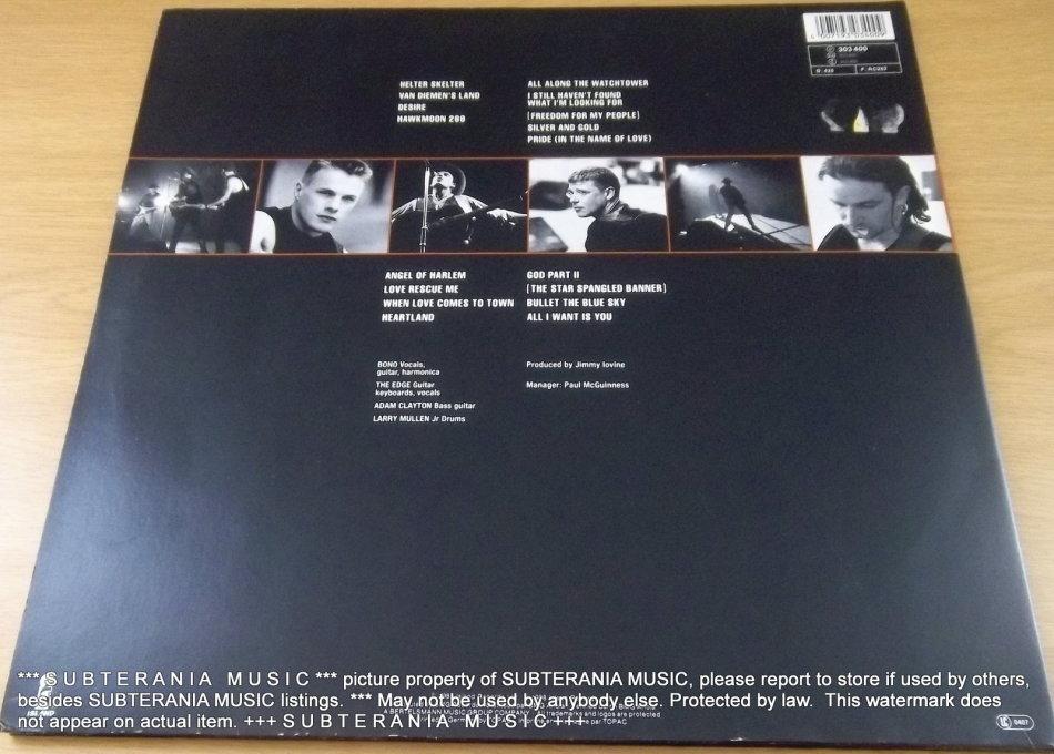 Alternative Rock - U2 Rattle and Hum Vinyl LP [Shelf E] was