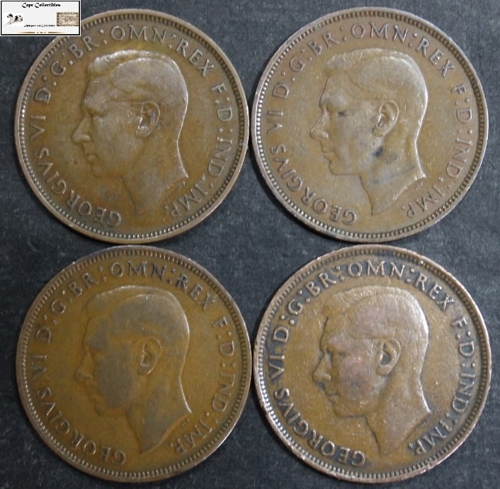 Great Britain - United Kingdom 1 Penny 1938x2 /1939/1945 Coin (Four