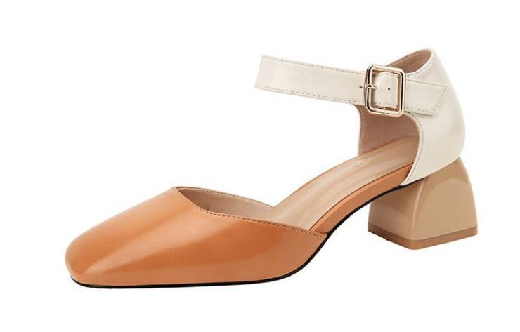 36eefe3d6a4 Heels - Classic Camel Contrast Block Heel Mary Jane Office Shoes ...