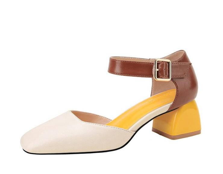cddd33661ee Classic White Contrast Block Heel Mary Jane Office Shoes - SA Size 4.5