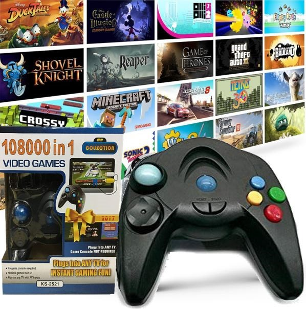 My Arcade 108000 in 1 Game System comes with 108000 built-in games  Just  Plug into TV and play
