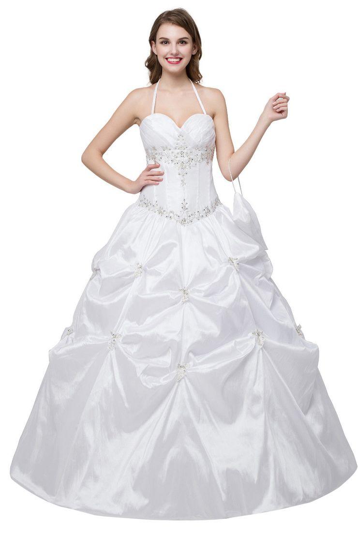 731aeed43c3 Wedding Dresses - White Halter Wedding Dresses Taffeta Beaded Bridal ...