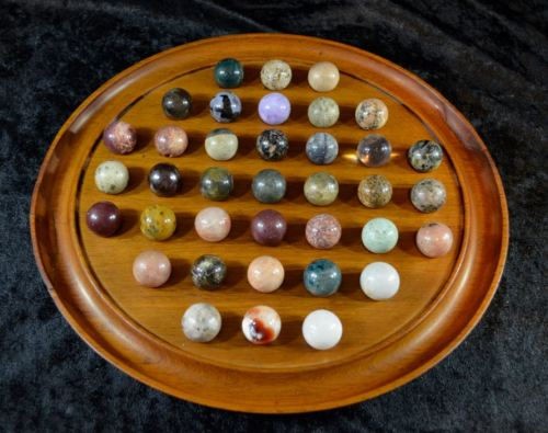 Wooden Solitaire Game With Semi Precious Gemstone Marbles From Suezyt